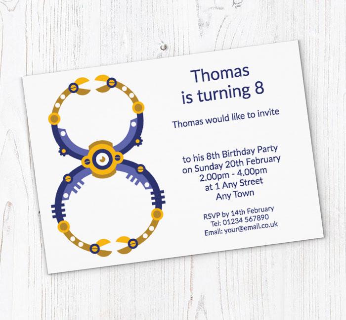 Robot 8th Birthday Party Invitations