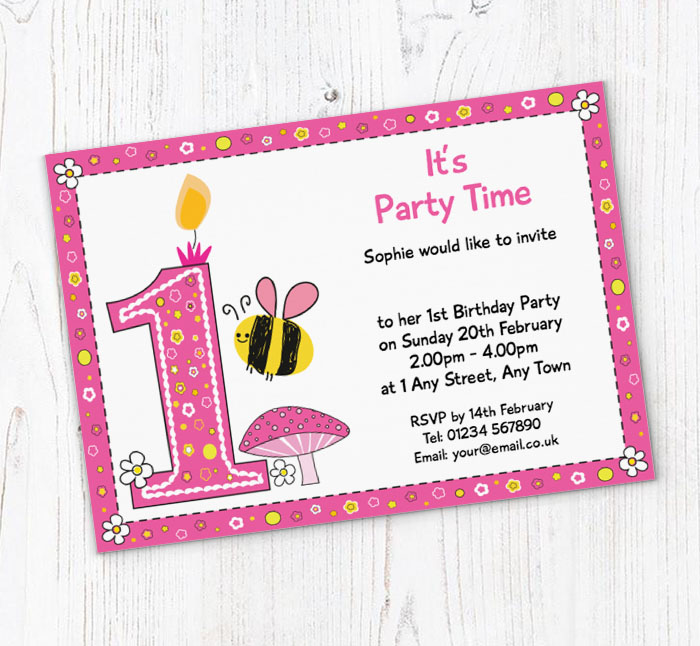 bumble bee 1st birthday invitations