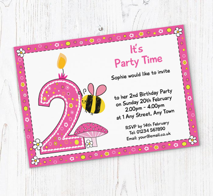 Bumble Bee 2nd Birthday Party Invitations
