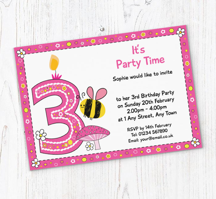 Bumble Bee 3rd Birthday Party Invitations