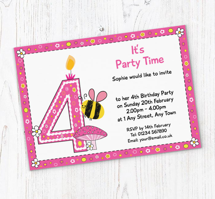 Bumble Bee 4th Birthday Party Invitations
