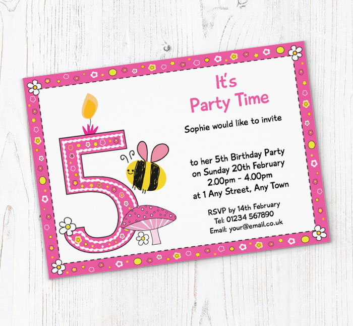 Bumble Bee 5th Birthday Party Invitations