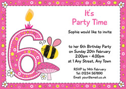 Bumble Bee 6th Birthday Invitations