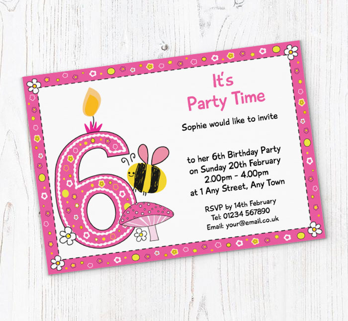 Bumble Bee 6th Birthday Party Invitations