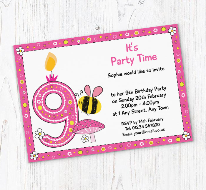 Bumble Bee 9th Birthday Party Invitations