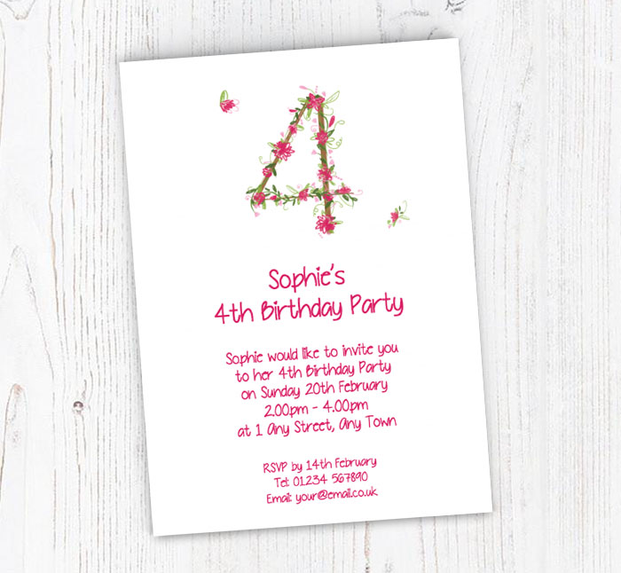 Floral 4th Birthday Party Invitations