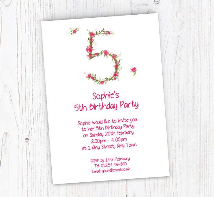 Floral 5th Birthday Party Invitations
