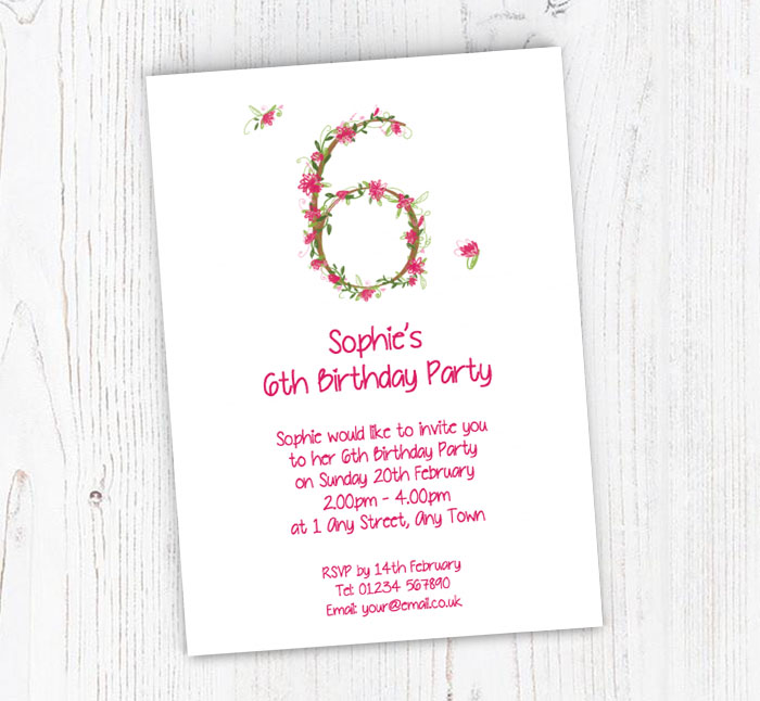 Floral 6th Birthday Party Invitations