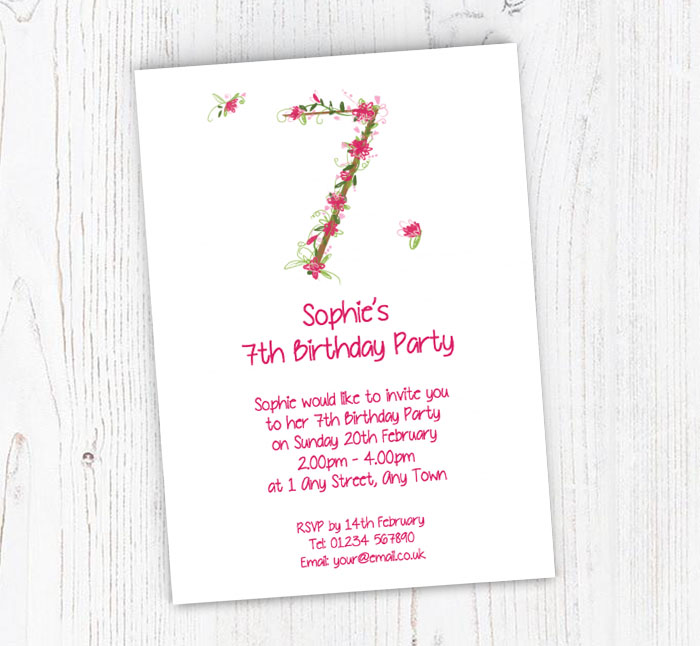 Floral 7th Birthday Party Invitations Customise Online Plus Free