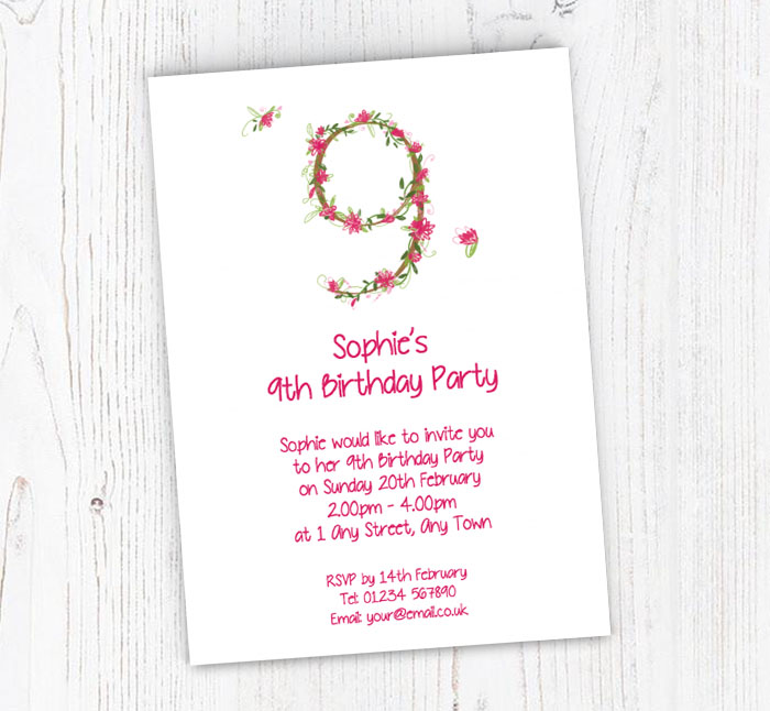Floral 9th Birthday Party Invitations