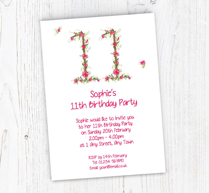 Floral 11th Birthday Party Invitations