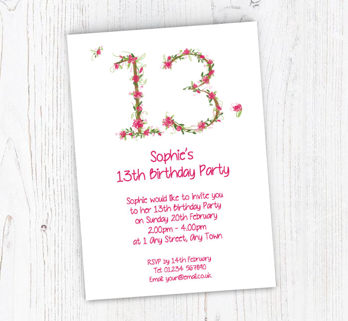 Floral 13th Birthday Party Invitations
