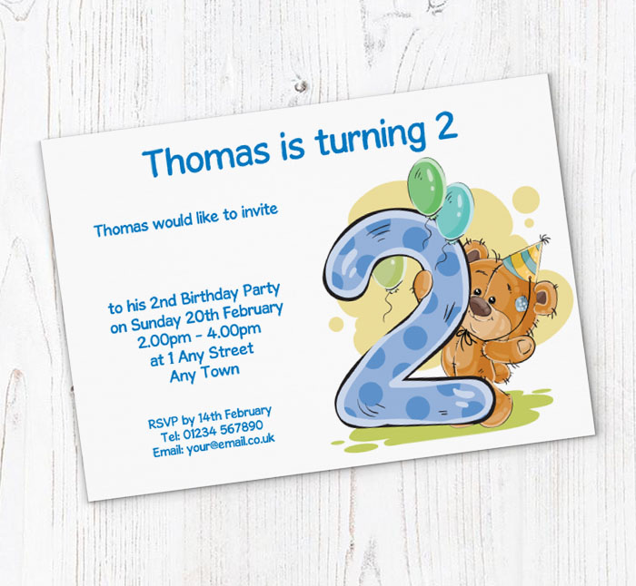 Party Bear 2nd Birthday Invitations