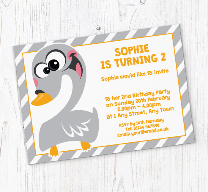 Swan 2nd Birthday Party Invitations