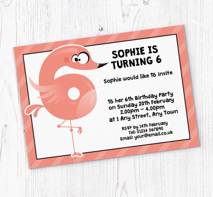 Flamingo 6th Birthday Party Invitations
