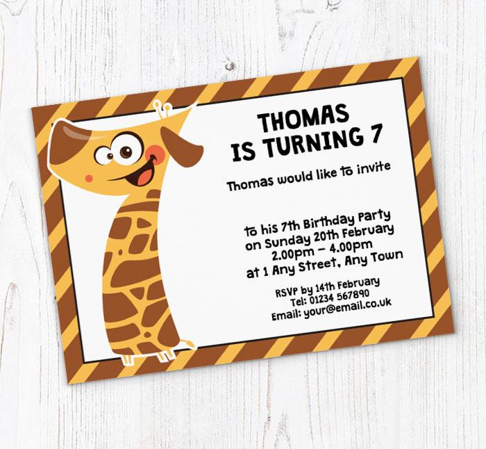 Giraffe 7th Birthday Party Invitations