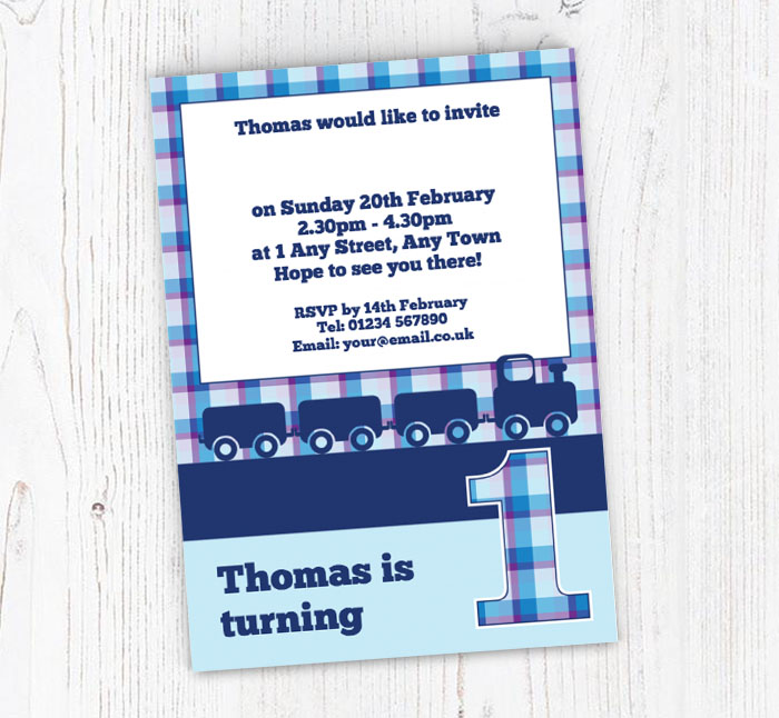 Blue Train 1st Birthday Party Invitations