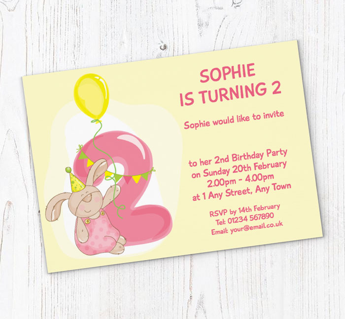 Bunny Rabbit 2nd Birthday Party Invitations
