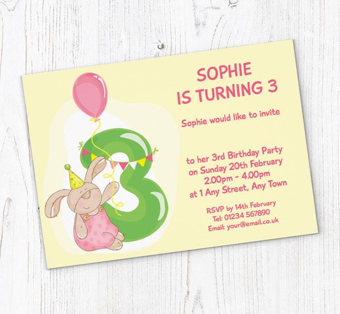 Bunny rabbit 3rd birthday party invitations customise online plus bunny rabbit 3rd birthday invitations filmwisefo
