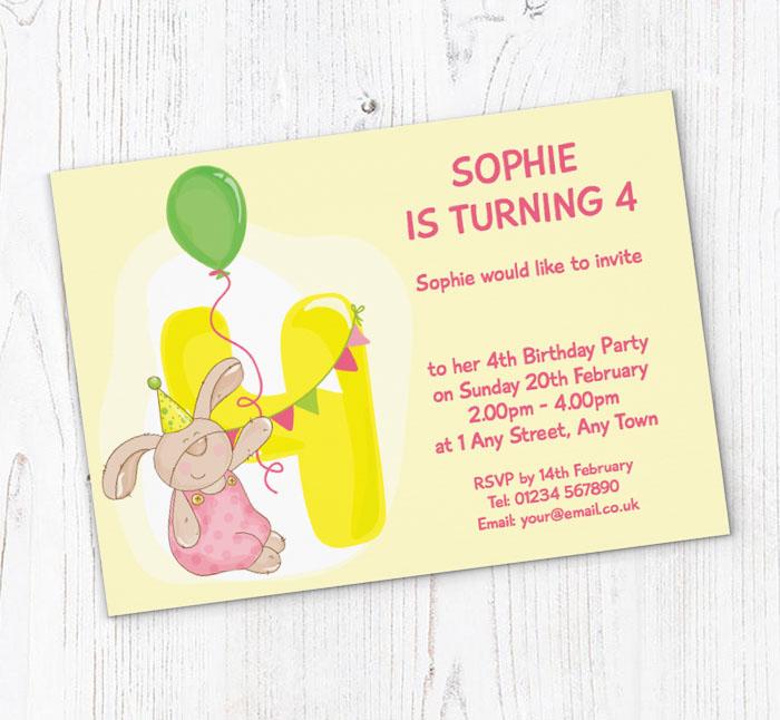 Bunny Rabbit 4th Birthday Party Invitations