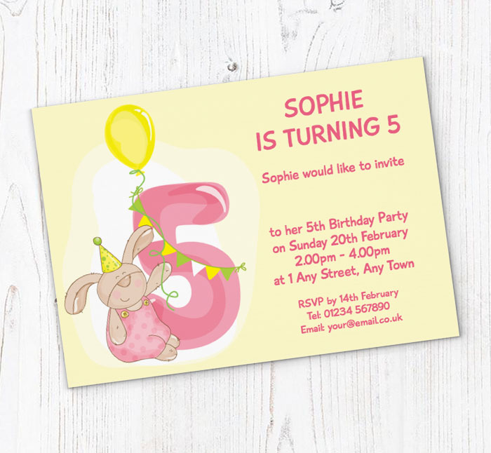 Bunny Rabbit 5th Birthday Party Invitations