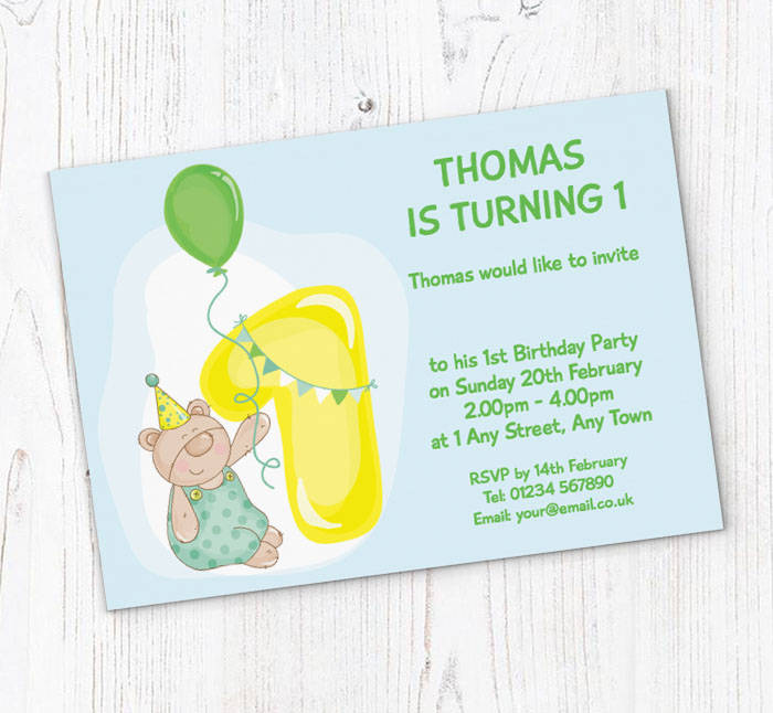 Teddy Bear 1st Birthday Party Invitations | Customise Online Plus Free Envelopes and Free Delivery | Putty Print