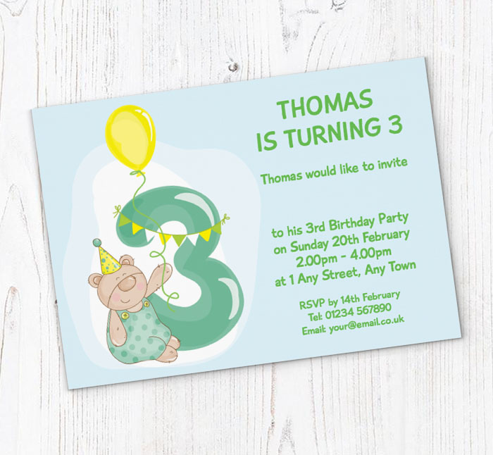 Teddy Bear 3rd Birthday Party Invitations