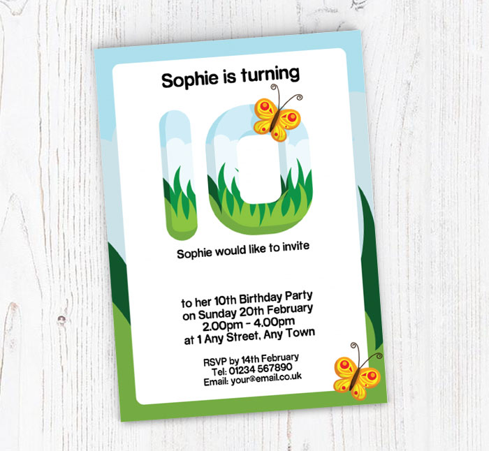 Butterflies 10th Birthday Party Invitations