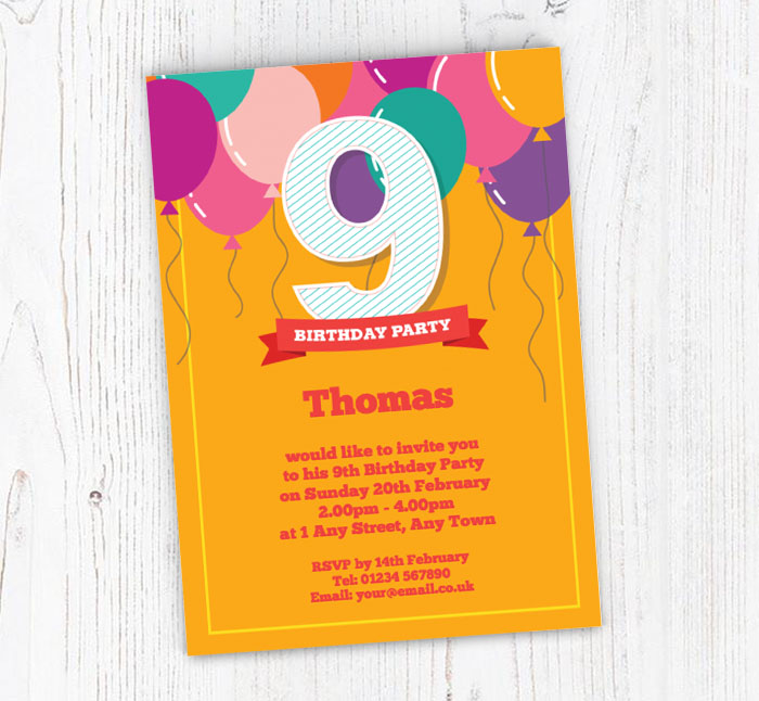 9th Birthday Balloons Party Invitations