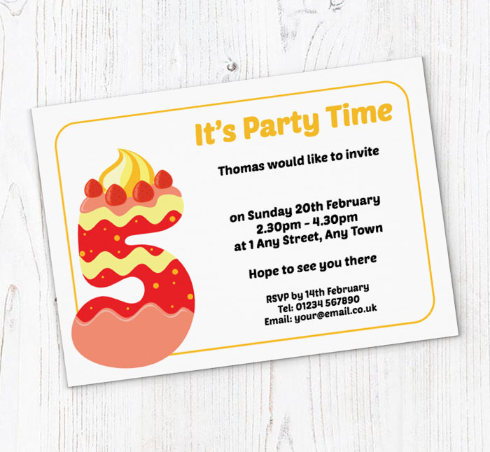 Cookie 5th Birthday Party Invitations