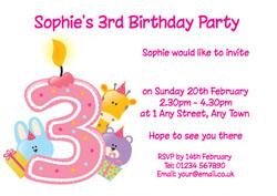 Teddy bear 3rd birthday party invitations customise online plus pink 3rd birthday party invitations filmwisefo