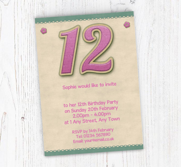 Glitter style 12th birthday party invitations customise online glitter style 12th birthday invitations filmwisefo