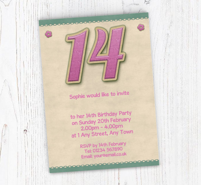 Glitter Style 14th Birthday Party Invitations Customise Online