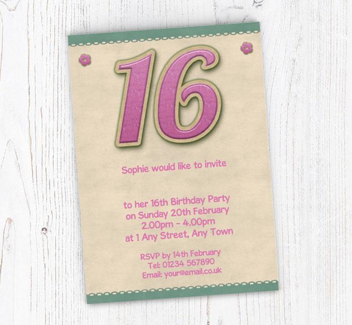 Glitter Style 16th Birthday Party Invitations