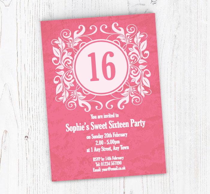 Pink Vintage 16th Birthday Invitations