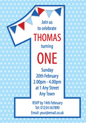 blue turning one party invitations