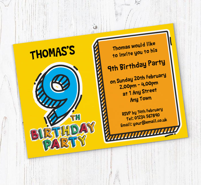 9th Doodle Birthday Party Invitations