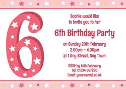 6th Stars Birthday Party Invitations