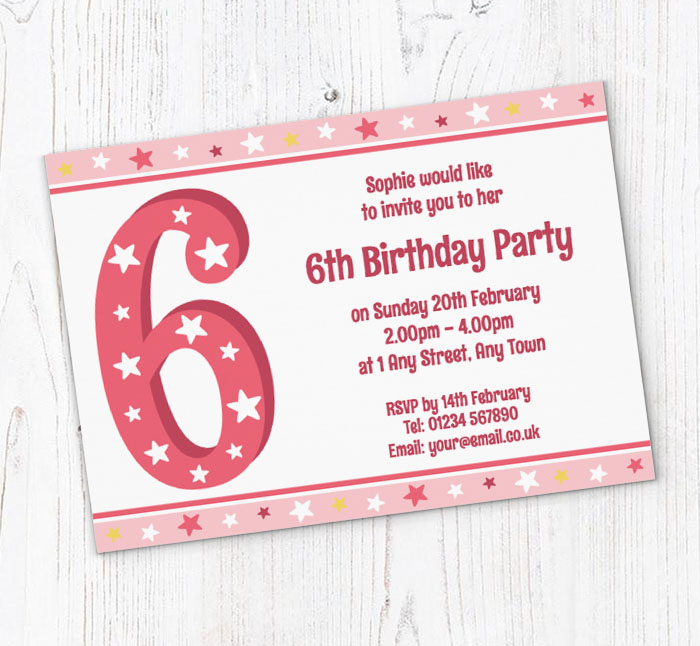 6th stars birthday party invitations