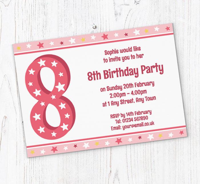 8th stars birthday party invitations customise online plus free 8th stars birthday party invitations filmwisefo