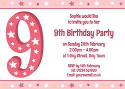 9th Stars Birthday Party Invitations