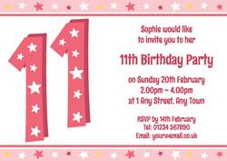 11th Stars Birthday Party Invitations
