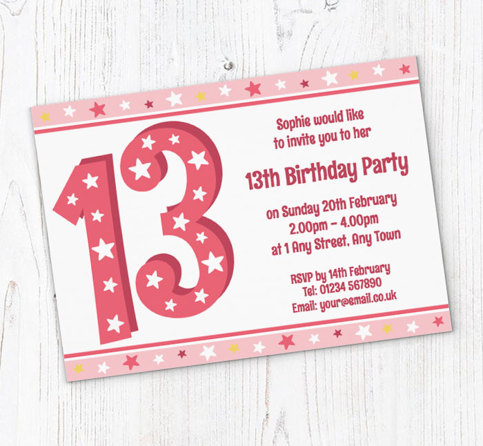 13th Stars Birthday Party Invitations