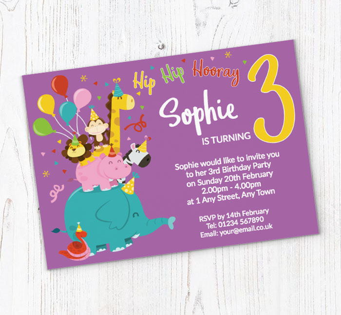 3rd Animal Birthday Party Invitations