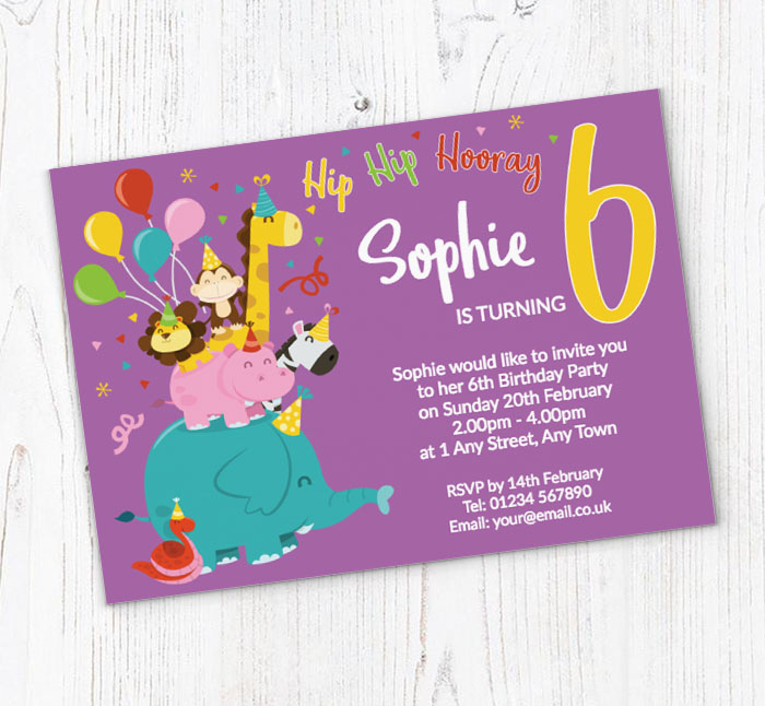 6th Animal Birthday Party Invitations