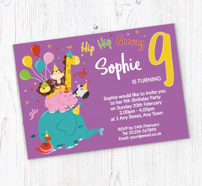 9th Animal Birthday Party Invitations