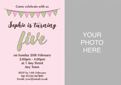 pink 5th photo party invitations