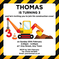 3rd birthday digger party invitations