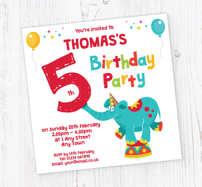 Elephant 5th Birthday Party Invitations Customise Online Plus Free