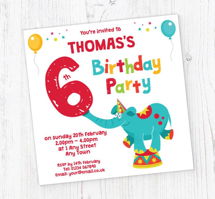 Elephant 6th Birthday Party Invitations